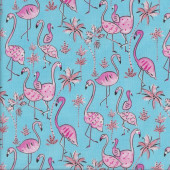 Pink Flamingos on Blue Haute Zahara Palm Trees Quilting Fabric