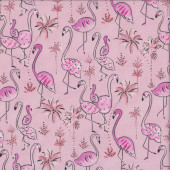 Pink Flamingos on Pink Haute Zahara Palm Trees Quilting Fabric