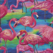 Pretty Pink Flamingos on Colourful Background Quilting Fabric