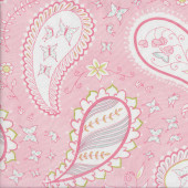 Pretty Paisley Flowers Butterflies on Light Pink Quilting Fabric