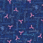 Pink Ribbons on Blue Breast Cancer Courage Quilting Fabric