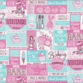 Vintage Baking Poster Adverts Cakes Aqua Pink Quilt Fabric