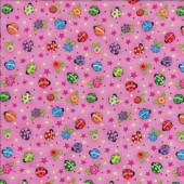 Pink Ladybirds Quilting Fabric
