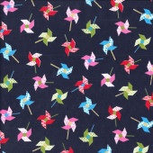 Japanese Origami Pinwheels on Navy Quilting Fabric