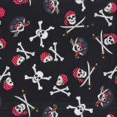 Pirates Skulls with Swords Crossbones on Black Quilting Fabric