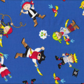 Pirates Blue Parrots Boys Flag Skulls Kids Quilt Fabric