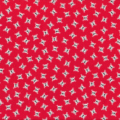 Small White Skulls on Red Pirates Boys Kids Quilting Fabric