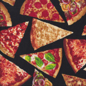 Pizza Slices on Black Junk Food Quilting Fabric