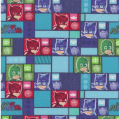 PJ Masks in Blocks Licensed Quilting Fabric