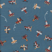Cute Planes on Dark Blue Grey Kids Boys Quilting Fabric