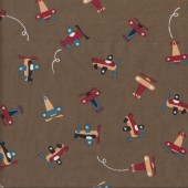 Cute Planes on Brown Kids Boys Quilting Fabric