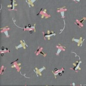 Cute Planes on Grey Kids Boys Quilting Fabric