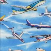 Aeroplanes Passenger Planes Aircraft Jets Quilting Fabric