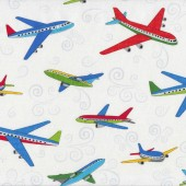 Flying Passanger Planes on White Boys Kids Quilt Fabric