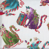 Christmas Cat-i-tude Playful Cats on White Metallic Gold Catitude Quilting Fabric