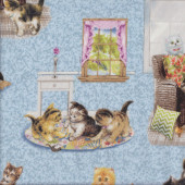 Playful Kittens Cats Pets Animal on Blue Quilting Fabric