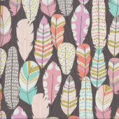 Plucked Feathers with Metallic on Charcoal Grey Quilting Fabric