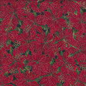 Red Poinsettias Red Christmas Quilting Fabric