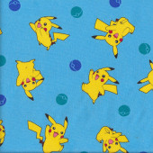 Yellow Pokemon Pikachu on Blue Fabric