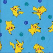 Yellow Pokemon Pikachu on Blue Fabric
