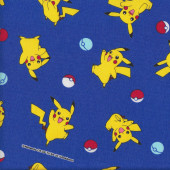 Yellow Pokemon Pikachu on Royal Blue Fabric