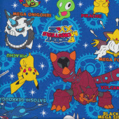 Pokemon Pocket Monsters on Royal Blue Fabric