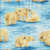 Polar Bears and Cubs on Icebergs Ocean Water Quilting Fabric