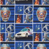 Police Car Dog Handcuffs Motorbike in Blue Black Squares Boys Quilting Fabric