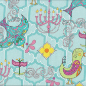 Retro Birds Funky Flowers Chandeliers on Aqua Birdy Quilt Fabric