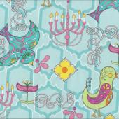 Retro Birds Funky Flowers Chandeliers on Aqua Birdy Quilt Fabric