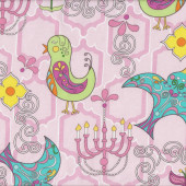 Retro Birds Funky Flowers Chandeliers on Pink Birdy Quilt Fabric