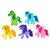 Colourful Pony Pink Purple Blue Ponies Girls Shank Craft Buttons