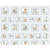 Dogs in Squares Pooch Portraits Quilting Fabric Panel