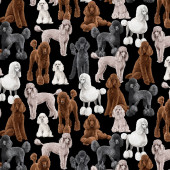 Poodles on Black Dogs Pet Animal Quilting Fabric