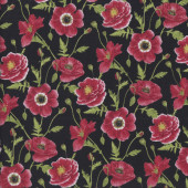 Red Poppies Butterflies Quilting Fabric