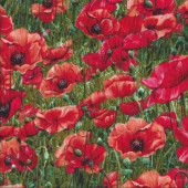 Red Poppy Flowers Quilting Fabric