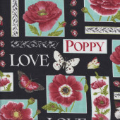 Poppies Love Butterflies on Black Quilting Fabric