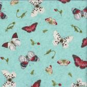 Butterflies on Aqua Flower Buds Quilting Fabric