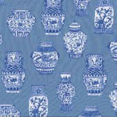 Blue and White Porcelain Vases Quilting Fabric