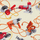 Power Tools Drill Jigsaw Sander Handyman Mens Cream Quilt Fabric