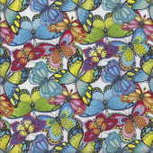 Pretty Colourful Butterflies Butterfly Insect on White Quilting Fabric
