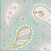 Pretty Paisley Flowers Butterflies on Light Aqua Quilting Fabric