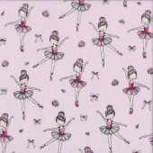 Ballerinas Ballet Bows Flowers on Pink Girls Silver Metallic Quilting Fabric