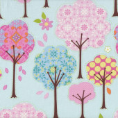 Pretty Little Things Trees Flowers on Blue Quilt Fabric