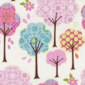 Pretty Little Things Trees Flowers on Cream Quilt Fabric