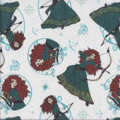 Princess Merida on White Brave Movie Girls Licensed Quilting Fabric