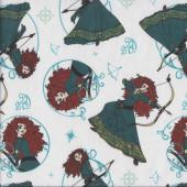 Princess Merida on White Brave Movie Girls Licensed Quilting Fabric
