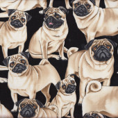 Pugs Dogs Pet Animal Quilt Fabric