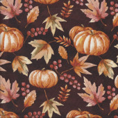 Autumn Pumpkins Leaves on Dark Brown Nature Quilting Fabric