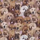 Cute Puppies Labrador Beagle Boxer My Pet Family Dogs Quilting Fabric